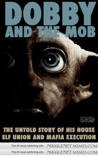"Elf, Memes, and Book: DOBBY  AND T MOB  SMDSHY  THE UNTOLD STORY OF HIS HOUSE  ELF UNION AND MAFIA EXECUTION  The #2 most addicting site MUGGLENET MEMES.COM  The #2 most addicting site MUGGLENET MEMES.COM <p>I wish this was a book&hellip; or movie. But mostly book. <a href=""http://ift.tt/1uF82ju"">http://ift.tt/1uF82ju</a></p>"
