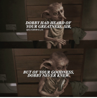 Memes, Would You Rather, and Captioned: DOBBY HAD HEARD OF  YOUR GREATNESS SIR,  asLUGHORNS II IG  BUT OF YOUR GOODNESS.  DOBBY NEVER KNEW • IG's update put the post button where you used to click to write a caption so I keep posting caption-less pics. Who would you rather bring back to life: Lupin or Fred?