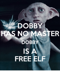 DOBBY  HAS NO MASTER  DOBBY  IS A  FREE ELF Ohhh Shit √