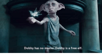 Quote of the Day ~Dobby: Dobby has no master.Dobby is a free elf. Quote of the Day ~Dobby