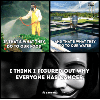 Memes, Anonymous, and Cancer: Docile leville  Public Water  Treatment Plant  Fluoride  IF THATS WHAT THEY  AND THAT'S WHAT THEY  DO TO OUR WATER  DO TO OUR FOOD  Dees  ation.com  ITHINKIFIGURED OUT WHY  EVERYONE HAS CANCER  anone #Anonymous