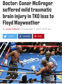 Crazy! https://t.co/aEVnt9vT5n: Doctor: Conor McGregor  suffered mild traumatic  brain injury in TKO loss to  Floyd Mayweather  By Jesse Holland on September 1, 2017 10:57 am  TWEET f SHARE P PIN  SHOPPING  UB  RESORTS  MG Crazy! https://t.co/aEVnt9vT5n