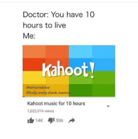 kahoot: Doctor: You have 10  hours to live  Me  Kahoot  @whorieblee  @holy moly dank meme  Kahoot music for 10 hours  1,025,974 views  14K 506 A