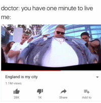 On YeeezY it's every day vro: doctor: you have one minute to live  me:  @ionesthesavage  England is my city  1.1M views  28K  1K  Share  Add to On YeeezY it's every day vro