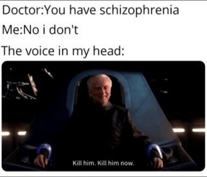 I'm fine. by OllieMiller123 MORE MEMES: Doctor:You have schizophrenia  Me:No i don't  The voice in my head:  Kill him. Kill him now. I'm fine. by OllieMiller123 MORE MEMES