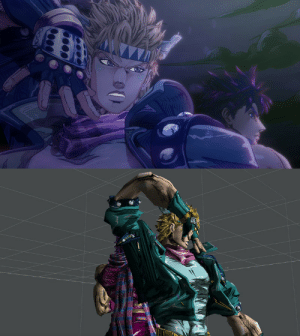 God, Oh My God, and Tumblr: doctormeow:motscoud:oh my god im reading an article about the jojo opening cgs and they had to do this to caesar to make that posesrc