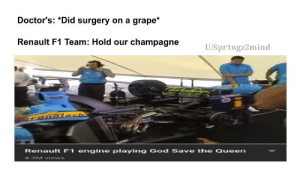 So that's what they do between seasons: Doctor's: *Did surgery on a grape*  Renault F1 Team: Hold our champagne  U/Spr1ngz2mind  TONO iech  Renault F1 engine playing God Save th e Queen  4.3M views So that's what they do between seasons