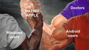 Android, Apple, and Dank: Doctors  HATING  APPLE  Windows  users  Android  users Avengers Assemble by morathegoat MORE MEMES