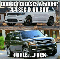 Lol, Memes, and Camaro: DODGE RELEASES A 500HP  4.4 SECO-60 SUV  FORD:s. FUCK Lol Ford is whack. Moparmemes mopar dodge dodgecharger dodgechallenger charger challenger hellcat rt srt srt8 jeep chrysler 300c viper scatpack carguys cargirls hemi chevy ford camaro moparornocar demon demonsrt