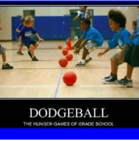 DODGEBALL  THE HUNGER GAMES OF GRADE SCHOOL I'm good at the dodging part but not hitting other people 😂 ~ 🤓 • • • • • clean funny meme cleanfunnymeme dodge ball dodgeball gradeschool hungergames hungergamesofgradeschool
