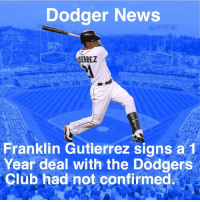 Dodgers just added some depth to their team before spring training.: Dodger News  RREZ  Franklin Gutierrez signs a 1  Year deal with the Dodgers  Club had not confirmed Dodgers just added some depth to their team before spring training.