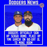 Romo is officially a Dodger, and after TJS for Garcia he is placed on the 60-Day DL to make room. | Source- MLBTR Tags- SergioRomo YimiGarcia Dodgers LA ITFDB WeLoveLA LosAngeles DodgersNews: DODGERS NEWS  DODGERS OFFICIAL SIGN  RP SERGIO ROMO, PLACE RP  YIMI GARCIA ON 60-DAY DL  TO MAKE ROOM  DODGERS.NETWORK Romo is officially a Dodger, and after TJS for Garcia he is placed on the 60-Day DL to make room. | Source- MLBTR Tags- SergioRomo YimiGarcia Dodgers LA ITFDB WeLoveLA LosAngeles DodgersNews