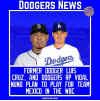 Current Dodgers RP Vidal Nuno, and Former Dodger Luis Cruz who now plays you the Yomiuri Giants in Japan both plan to play for Team Mexico in this years WBC. | Source- Jon Morosi Tags- VidalNuno LuisCruz Dodgers LA ITFDB WeLoveLA LosAngeles DodgersNews Mexico WBC: DODGERS NEWS  FORMER DODGER LUIS  CRUZ, AND DODGERS RP VIDAL  NUNO PLAN TO PLAY FOR TEAM  MEXICO IN THE WBC  DODGERS.NETWORK Current Dodgers RP Vidal Nuno, and Former Dodger Luis Cruz who now plays you the Yomiuri Giants in Japan both plan to play for Team Mexico in this years WBC. | Source- Jon Morosi Tags- VidalNuno LuisCruz Dodgers LA ITFDB WeLoveLA LosAngeles DodgersNews Mexico WBC