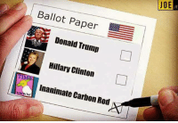 Hillary Clinton, Memes, and 🤖: DOE JOE  u  Ballot Paper  Donald Trump  Hillary Clinton  TIME  Inanimate Carbon Rod #USElections2016 #USElection #ElectionDay #Election2016 🇺🇸  Credit: Justine Stafford