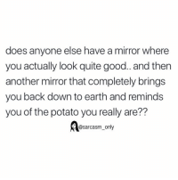 Funny, Memes, and Earth: does anyone else have a mirror where  you actually look quite good.. and then  another mirror that completely brings  you back down to earth and reminds  you of the potato you really are??  @sarcasm_only SarcasmOnly