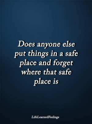 Memes, 🤖, and Safe: Does anyone else  put things in a safe  place and forget  where that safe  place iS  LifeLearnedFeelings <3