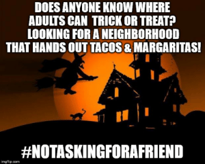 happy halloween Memes - Imgflip: DOES ANYONE KNOW WHERE  ADULTS CAN TRICK OR TREATA  LOOKING FOR A NEIGHBORHOOD  THAT HANDS OUT TACOS & MARGARITAS!  #NOTASKINGFORAFRIEND  imgflip.com happy halloween Memes - Imgflip