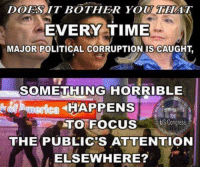 Memes, Focus, and Time: DOES IT BOTHER YOU THAT  EVERY TIME  MAJOR POLITICAL CORRUPTION IS CAUGHT  SOMETHING HORRIBLE  HAPPENS  TO FOCUS  USCongress  THE PUBLIC'S ATTENTION  ELSEWHERE? It bothers me.... Just how much corruption can they hide?