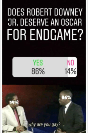 You Gay: DOES ROBERT DOWNEY  JR. DESERVE AN OSCAR  FOR ENDGAME?  YES  86%  NO  14%  86%  14%  why are you gay?