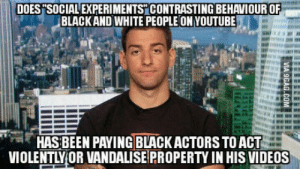 "Videos, White People, and youtube.com: DOES ""SOCIAL EXPERIMENTS CONTRASTING BEHAVIOUR OF  BLACKAND WHITE PEOPLE ON YOUTUBE  HAS BEN PAYING BLACKACTORS TOACL  VIOLENTLYOR VANDALISE PROPERTY IN HIS VIDEOS Joey Salads. Guys has 1.4 million subscribers. Finally he got busted."
