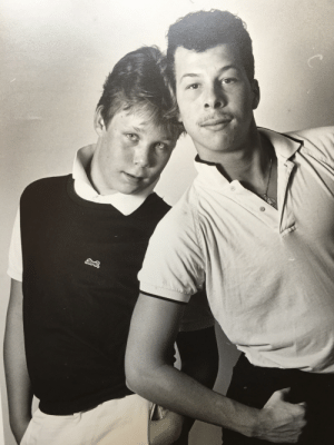 Does this photo make me look gay? My openly gay brother (r) and I (not gay) in the early 80's.: Does this photo make me look gay? My openly gay brother (r) and I (not gay) in the early 80's.