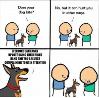 This dog speaks the truth and nothing but the truth: Does your  dog bite?  No, but it can hurt you  in other ways  EVERYONE CAN EASILY  UPVOTE USING THEIR RIGHT  HAND AND YOU AREJUST  COMPLAINING TO GAIN ATTENTION This dog speaks the truth and nothing but the truth