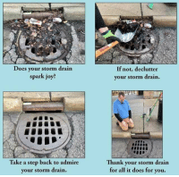 Http, Wholesome, and Back: Does your storm drain  spark joy?  If not, declutter  your storm drain.  Take a step back to admire  your storm drairn  Th  ank your storm drain  for all it does for you. Wholesome Drain via /r/wholesomememes http://bit.ly/2GDNS4X