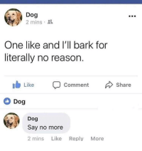 Http, Say No More, and Reason: Dog  2 mins 3  One like and l'll bark for  literally no reason.  ib Like Comment Share  Dog  Dog  Say no more  2 mins Like Reply More Say no more. via /r/wholesomememes http://bit.ly/2SrrQoS