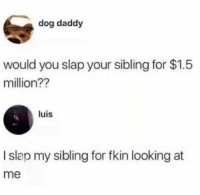 Memes, 🤖, and Dog: dog daddy  would you slap your sibling for $1.5  million??  luis  I slap my sibling for fkin looking at  me