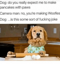 Fucking, Memes, and Camera: Dog: do you really expect me to make  pancakes with paws  Camera man: no, you're making Woofles  Dog: ..is this some sort of fucking joke  TheFunnyintrovert woofles