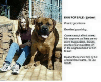Drugs, Memes, and Streets: DOG FOR SALE (Jethro)  Free to good home  Excellent guard dog  Owner cannot afford to feed  him anymore, as there are no  more drug pushers, thieves,  murderers or molesters left  in the neighbourhood for him  to eat.  Most of them knew him by his  oriental street name Ho Lee  Schlitt