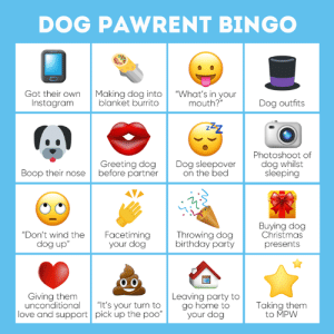 """How close are you to Bingo? ✅  Show us photo evidence of one of these below 😂😂😂: DOG PAWRENT BINGO  Got their own Making dog into """"What's in your  blanket burrito  Instagram  mouth?""""  Dog outfits  Greeting dog  Boop their nose before partner  Dog sleepover d  on the bed  Photoshoot of  dog whilst  sleeping  Buying dog  Christmas  Don't wind the Facetiming  your dog  Throwing dog  birthday party  dog up  present  o 0  Giving them  Leaving party to  unconditional """"It's your turn to go home to  Taking them  to MPW  love and support pick up the poo  your dog How close are you to Bingo? ✅  Show us photo evidence of one of these below 😂😂😂"""