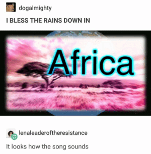: dogalmighty  I BLESS THE RAINS DOWN IN  Africa  lenaleaderoftheresistance  It looks how the song sounds