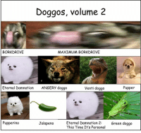 Doggos, volume 2  BORKDRIVE  MAXIMUM BORKDRIVE  Pupper  Eternal Damnation  ANGERY doggo  Venti doggo  Eternal Damnation 2  Green doggo  Pupperino  Jalapeno  This Time. It's Personal Volume two was released, follow @doggosdoingthings to see further models and designs