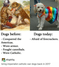 we're learning about how messed up the Catholic church was back in the 1400s-1600s in AP euro and it was indeed quite messy: Dogs before  Dogs today:  Afraid of firecrackers.  Conquered the  Americas.  Wore armor.  Fought cannibals.  Were Catholic  bring imperialist catholic war dogs back in 2017 we're learning about how messed up the Catholic church was back in the 1400s-1600s in AP euro and it was indeed quite messy