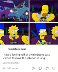 A Female Deer: D'Oh!  A female deer!  A deer!  hom3 stuck-pon3  i have a feeling half of the simpsons cast  wanted to make this joke for so long  Source: molt res  491,577 notes