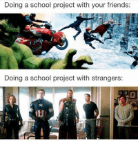 Memes, 🤖, and Mcu: Doing a school project with your friends:  Doing a school project with strangers: how relatable is this avengers mcu marvel