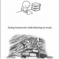 Doing homework while listening to music This is so me! What's u're guys fav subject, mines science and math? 😄 books music homework homeworkandmusic