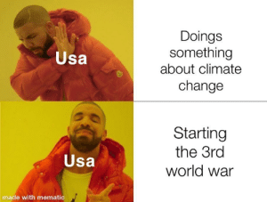 Welp,it was coming sooner or later: Doings  something  about climate  Usa  change  Starting  the 3rd  Usa  world war  made with mematic Welp,it was coming sooner or later