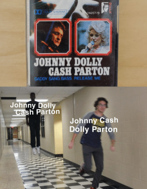 Love, Reddit, and Sang: DOLEY SYSTEM  1420779  JOHNNY DOLLY  CASH PARTON  DADDY SANG BASS RELEASE ME  Johnny Dolly  Cash Partón  Johnny Cash  Dolly Parton  CLEEN I love Johnny Dolly.