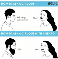Beard, Club, and Girls: DOLLAR  HOW TO ASK A GIRL OUT  BEARD CLUB  Will you go  mm  s  out with me  HOW TO ASK A GIRL OUT WITH A BEARD  Will  Yes!