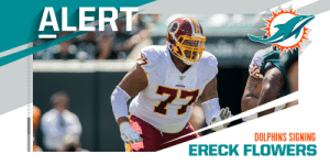 Dolphins, Ereck Flowers agree to terms on three-year, $30M deal. (via @rapsheet) https://t.co/WdmvbUaGQP: Dolphins, Ereck Flowers agree to terms on three-year, $30M deal. (via @rapsheet) https://t.co/WdmvbUaGQP