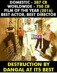 Memes, Best Actor, and 🤖: DOMESTIC 387 CR  WORLDWIDE  750 CR  FILM OF THE YEAR (2016)  BEST ACTOR, BEST DIRECTOR  RVCJ  WWW. RVCU.COM  DESTRUCTION BY  DANGAL AT ITS BEST Dangal movie... rvcjinsta