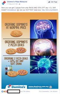 """<p>Expanding Brain Meme officially dead SELL SELL SELL! via /r/MemeEconomy <a href=""""http://ift.tt/2q5j8Of"""">http://ift.tt/2q5j8Of</a></p>: Domino's Pizza Malaysia  17 May at 21:00  Like Page  Now you can get 2 pizzas from only RM30 AND 50% OFF any 1.5L Soft  Drink!? #mindblown Get our HOTTEST deal now: http://bit.ly/2pSNQKX  ORDERING DOMINO'S  AT NORMAL PRICE  ORDERING DOMINO'S  2 PIZZA DEALS  ORDERING 2 PIZZA DEALS  +50% OFF ANY  SOFT DRINK  Dominosw  www.dominos.com.my  Operaion Hours:1030am-1100pm  and 799 others  354 Comments 2.6k Shares <p>Expanding Brain Meme officially dead SELL SELL SELL! via /r/MemeEconomy <a href=""""http://ift.tt/2q5j8Of"""">http://ift.tt/2q5j8Of</a></p>"""