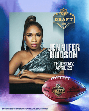 Don't miss Jennifer Hudson perform as part of the 2020 NFL Draft Preshow this Thursday, April 23 at 7pm ET! Watch on @nflnetwork and @espn. @IAMJHUD #NFLDraft  📷 cred: @dylancoulter https://t.co/BItswyz4o7: Don't miss Jennifer Hudson perform as part of the 2020 NFL Draft Preshow this Thursday, April 23 at 7pm ET! Watch on @nflnetwork and @espn. @IAMJHUD #NFLDraft  📷 cred: @dylancoulter https://t.co/BItswyz4o7