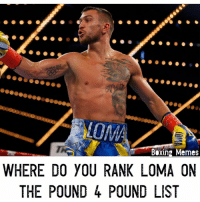 Boxing, Memes, and 🤖: don 2012  Boxing Memes  WHERE DO YOU RANK LOMA ON  THE POUND 4 POUND LIST Question of the Day !!! After tonight's victory over Linares where do you rank lomachenko on your P4P List ❓