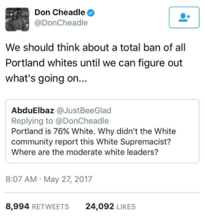 Community, White, and Don Cheadle: Don Cheadle  @DonCheadle  We should think about a total ban of all  Portland whites until we can figure out  what's going on...  AbduElbaz @JustBeeGlad  Replying to @DonCheadle  Portland is 76% White. Why didn't the White  community report this White Supremacist?  Where are the moderate white leaders?  8:07 AM May 27, 2017  8,994 RETWEETS  24,092 LIKES We must stop radical Republican extremism