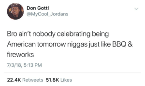 Dank, Jordans, and Memes: Don Gotti  @MyCool_Jordans  Bro ain't nobody celebrating being  American tomorrow niggas just like BBQ 8  fireworks  7/3/18, 5:13 PM  22.4K Retweets 51.8K Likes Happy 4th of July though! by HRMisHere FOLLOW HERE 4 MORE MEMES.