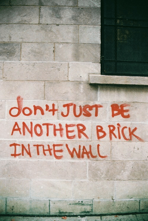 Another, Brick, and The Wall: don JUST BE  ANOTHER BRICK  IN THE WALL