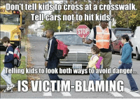 "Tumblr, Blog, and Cross: Don t tellkidsto cross at a crosswalk  Tellcars not to hit kids  STOP  Telling kids to look both ways to avoiddanger...  IS VICTIM-BLAMING <p><a class=""tumblr_blog"" href=""http://offending-the-offended.tumblr.com/post/147060258874"">offending-the-offended</a>:</p> <blockquote> <p>Remember: telling people to make reasonable decisions is victim blaming! Or, at least, that's what feminists say.</p> </blockquote>"